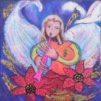 Ange musicien (20X20)  Prix : me consulter