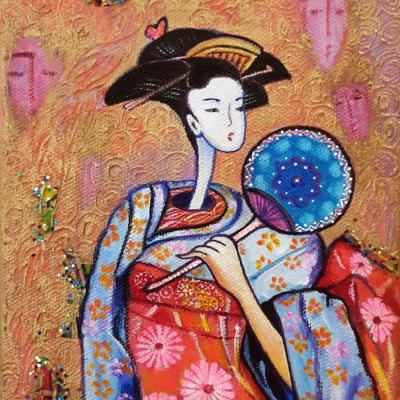 Japonaise à l'éventail sur toile - 24x19