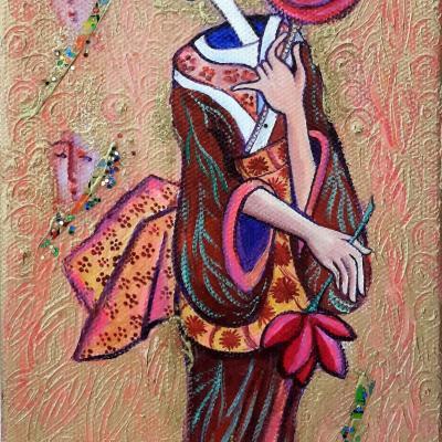 Japonaise  sur toile de lin - vendu