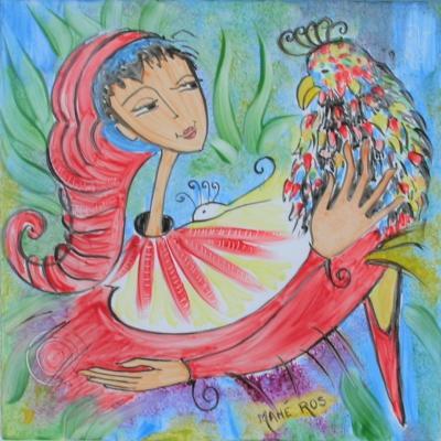 La belle au perroquet - 10x10 - Céramique - vendu