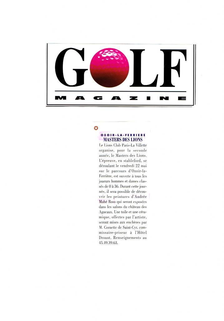 Golf Magazine-Vente aux enchères à Ozoir la Ferrière