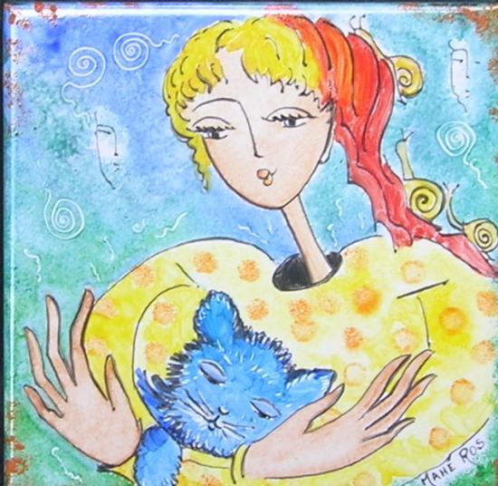 La jeune fille au chat bleu