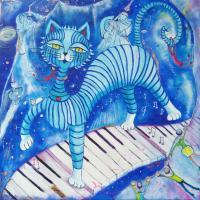 Chat bleu au piano-rêve - 80X80