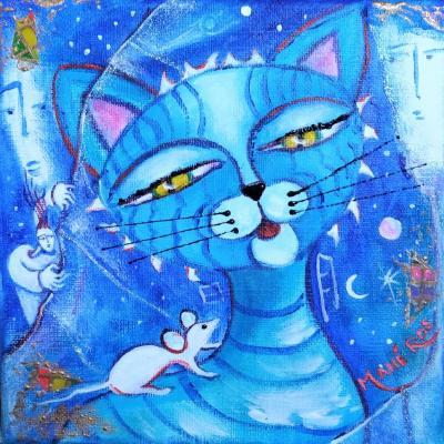 chat à la souris - 20x20