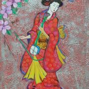 Japonaise au shamisen2 sur bois