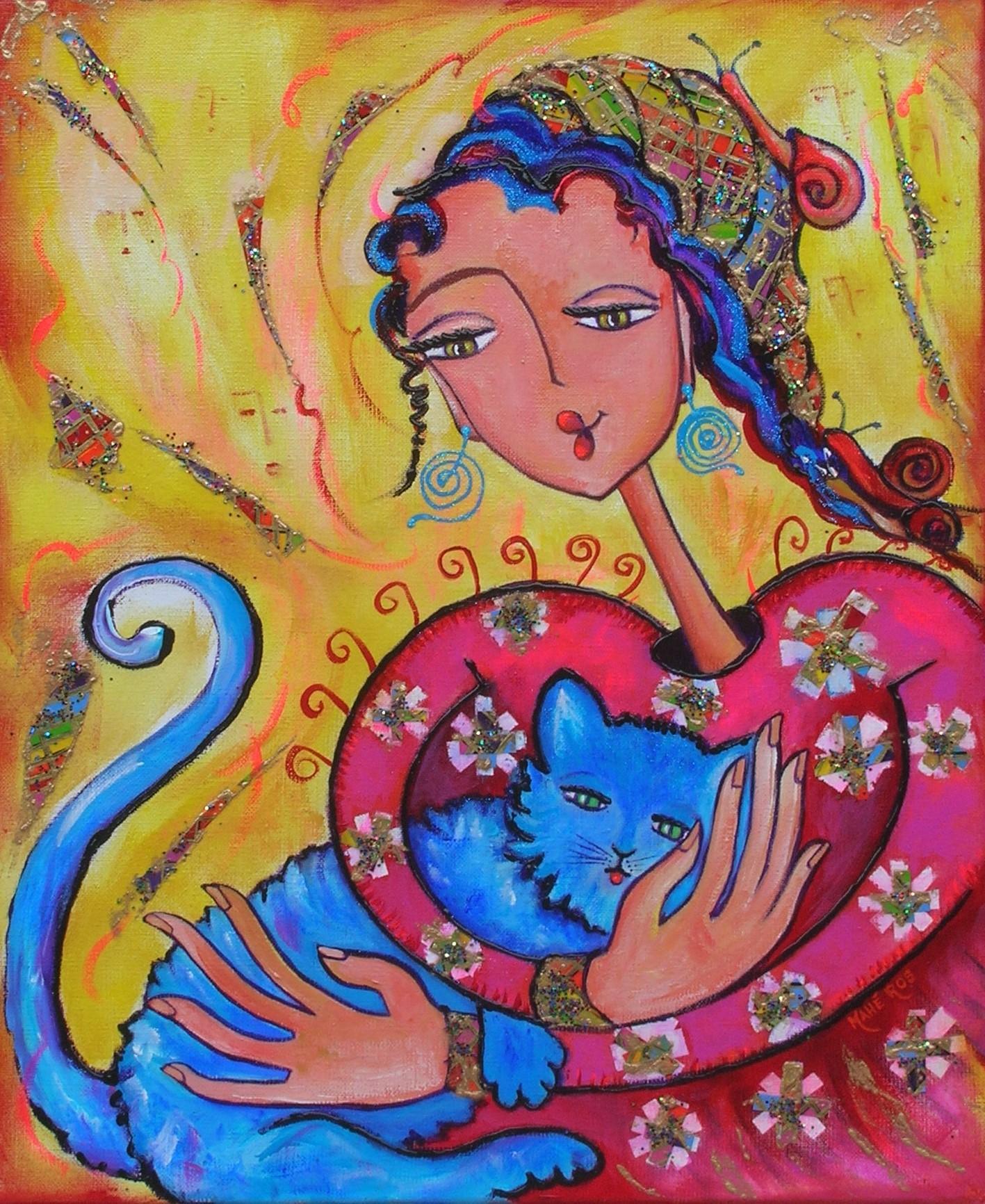Jeune fille au chat bleu - vendu