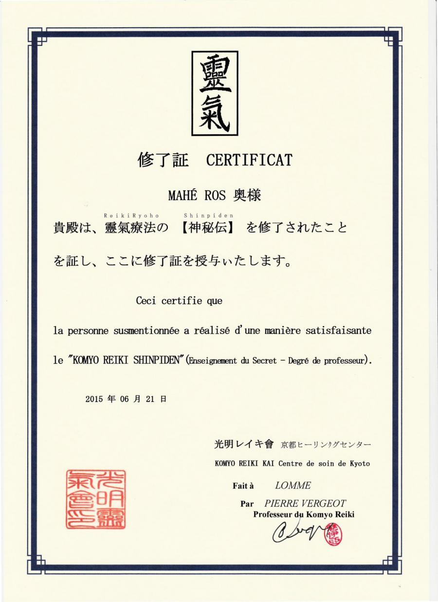 Certificat shihan maheros