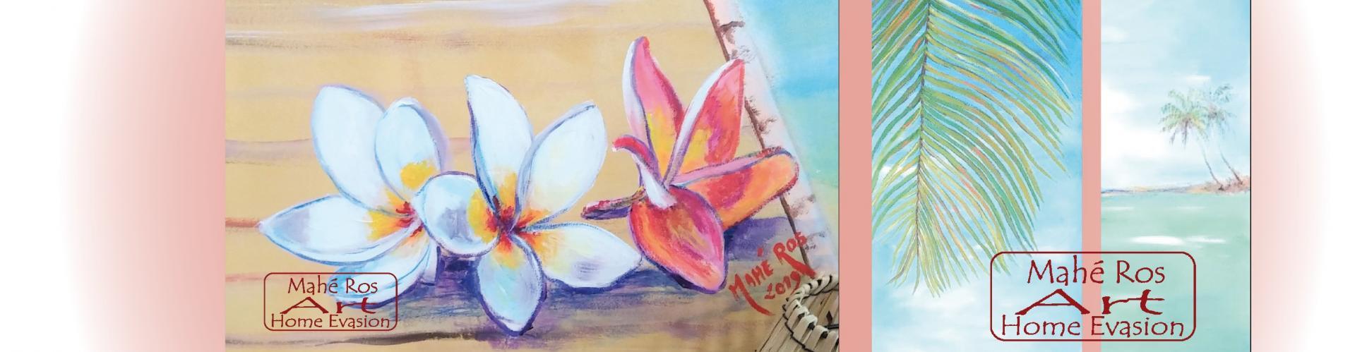 Fleurs de frangipanier et cocotiers